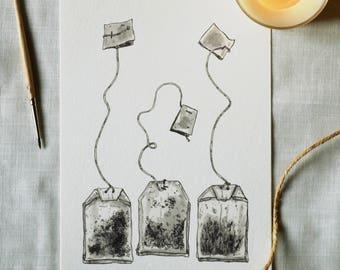Teatime - Digital Art Print. Ink illustration from the Inktober series.