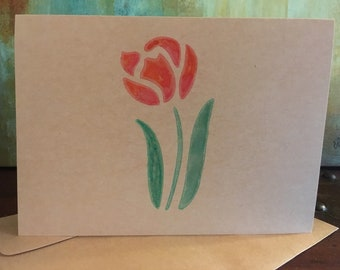 rose hand painted greeting card, blank greeting card, blank note card, watercolor greeting card, thank you card, birthday card, hand made