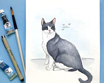 Original Custom Pet Portrait - Full Body Animal Watercolor Art - Handmade Illustration Gift of Dog - Cat - Horse - and more!