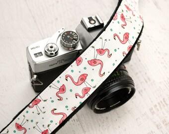 Camera Strap - DSLR Camera Strap - Pink Camera Strap- Nikon Strap - Canon Camera Strap - Camera Accessory - Flamingo
