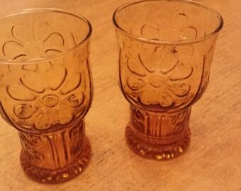 Vintage Libbey Mod Flower Power Juice Glasses Set of 2