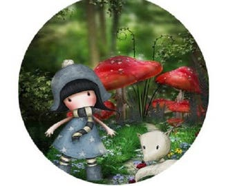 """""""Lady in the forest"""" cabochon 25mm"""