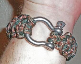 Double Wide Survival Bracelet Large Adult 15 feet 550 parachute cord