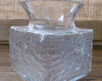 Vintage Dartington clear glass vase, textured bark by Frank Thrower