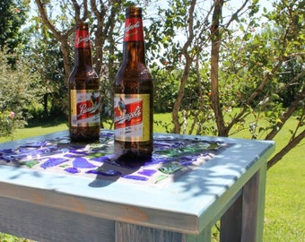 Reclaimed Wood Table- Quittin' Time- Fused Glass Bottles- Denim Blue- Side Table- Outdoor Furniture
