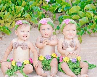 Baby Hawaiian Outfit, Hula Girl Outfit, Hula Girl Birthday Outfit, Baby Hawaiian Outfit, Baby Hula Girl Photo Prop, Toddler Hula Set