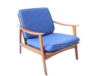 Vintage Mid Century Modern Lounge Chair with Blue Cushions
