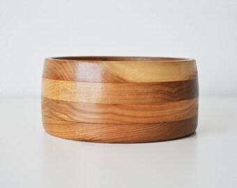 "Vintage 6"" Layered / Striped Wood Bowl"