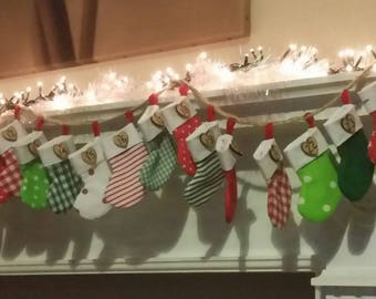 Advent stocking bunting.