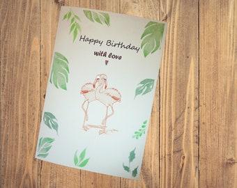 Handmade greeting card Happy Birthday flamingos  with Swarovski crystals