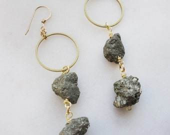 Natural Pyrite Earrings with 14k gold fill hooks
