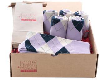 Groomsmen Socks Kit - Light Grey Argyle - Premium Cotton - 6 Pairs K0pjXcoVr