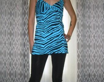 Blue Zebra Babydoll Tunic Small Medium by Vicmes Clothing
