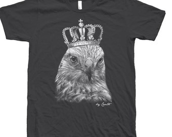 Hawk Shirt Screen Print on American Apparel Crew Neck Tshirt Available: S , M , L , Xl , Xxl