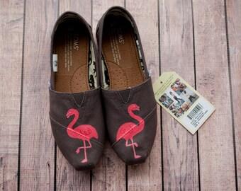 Flamingo Hand Painted Women's Toms