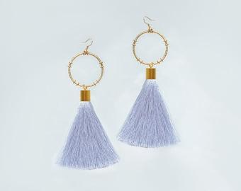 Statement Jewelry Gray Tassel Earrings Hoop Earrings Statement Earrings Mother's Day Gift Mother Gift for Mom Gift for Her/ MATTEA
