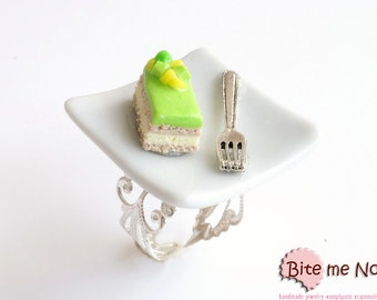 Lime French Pastry Ring, Statement Ring, Mini Gateaux, Miniature Food, Dessert Ring, Polymer Clay Sweets, Kawaii Jewelry, Foodie Gift