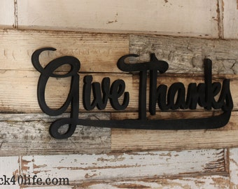 Give Thanks with Rustic Reclaimed Wood Sign (S-034a)