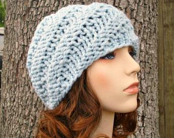 Knit Hat Blue Womens Hat - Swirl Beanie in Glacier Blue Knit Hat - Blue Hat Blue Beanie Womens Accessories Winter Hat