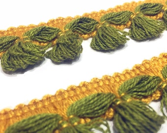 Vintage Green Wool Gimp - Mini Tassel Gimp - Green and Gold Trim - Sewing Trim - Fancy Trim - Craft Trim - Wool Trim - B97 - 1 yard