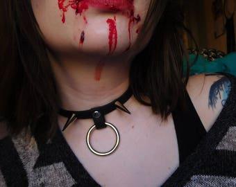 Black O Ring Spiked Vegan Choker Collar; Goth collar; BDSM Choker; hardcore