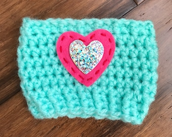 Hand Crochet mint Coffee or Tea cozie with hearts.