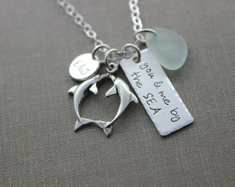 Personalized beach necklace - you & me by the sea - Sterling silver  Genuine Sea Glass - Rectangle Bar - Couples Initials - Kissing dolphins