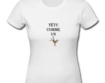 Women's T-shirt in cotton, animals, stubborn as a donkey