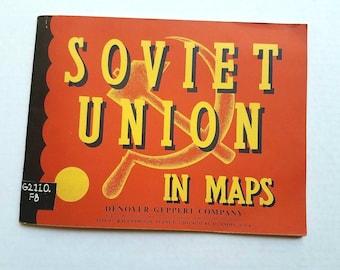 "1961 ""Soviet Union in Maps"" Soviet Union Atlas. Russia. Denoyer-Geppert. USSR. Harold Fullard. Vintage maps. Vintage atlas. Old maps."