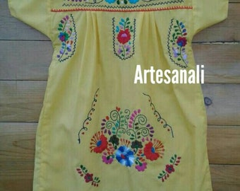 Mexican traditional hand Embroidered dress size 8 years old girls