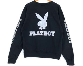 Playboy Sweatshirt Big Bunny Gold Logo Rare Black Colour XL Size Sweat Jacket Jumper Sweatshirt Pullover Shirt Sweater Hoodie Vintage 90's jh6Io