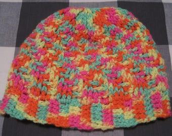 Crochet Stepping Texture Rainbow Winter Hat