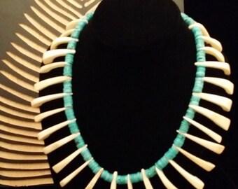 Amazing! Tribal Inspired Flat Bead Turquoise and Bone Necklace
