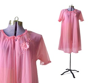 60s Pink Peignor / Pink Bed Jacket /  Chiffon Nightgown / Small Nightgown / Vintage Nightgown / Sleepwear Intimate Womens Clothing Lingerie