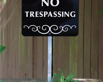NO TRESPASSING Yard Sign with attached yard stake. Ships FREE