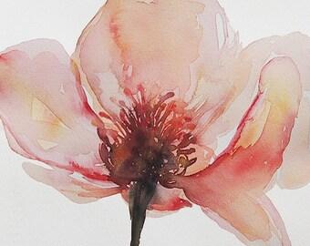 Original Watercolour Painting,Pink Chinese lotus,Wall Art