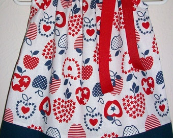 Patriotic Dress with Apples Pillowcase Dress Girls Dresses red white and blue baby dresses Patriotic Clothes Toddler Dress Patriotic Outfit