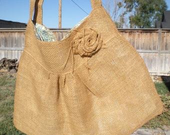 Handmade Burlap Purse Shoulder bag Embellished Front Paisley Lining Adorable OOAK