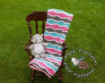 Crochet afghan pattern, crochet ripple blanket pattern, crochet blanket pattern, baby blanket pattern, crochet stripe pattern okay to sell
