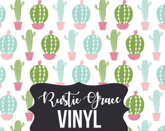 Cactus Vinyl / Cactus Heat Transfer Vinyl / White Pink Cactus Vinyl / Adhesive Vinyl / Oracal Vinyl