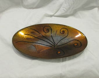 Enamel Art Dish, Enamel Over Copper, Abstract, Oval, Un-signed, Copper/Orange/Black/Grey, 1960's or 1970's