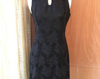 Vintage 90s Little Black Mini Dress with Floral Brocade and Mandarin Collar