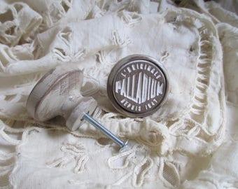 Button furniture drawer, door ceramic wood, hand-made custom, PALLADIUM
