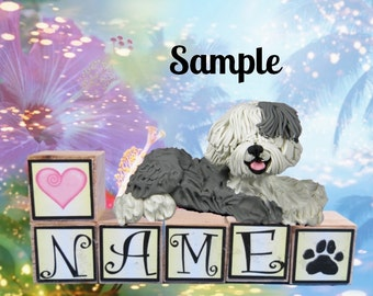 Old English Sheepdog PERSONALIZED with your dog's name on blocks by Sally's Bits of Clay