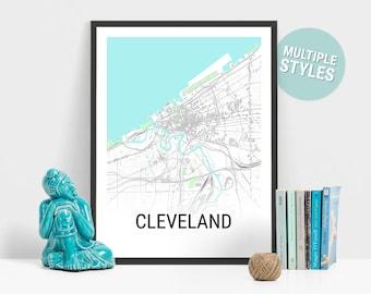 Cleveland Map Print, Ohio, USA, City Map, City Map Print, Travel Map, Map Art, Map Poster, Wall Art, Home Decor, Modern, Minimalist