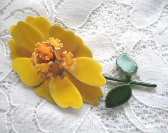 Vintage Enamel Flower Brooch ~ Yellow