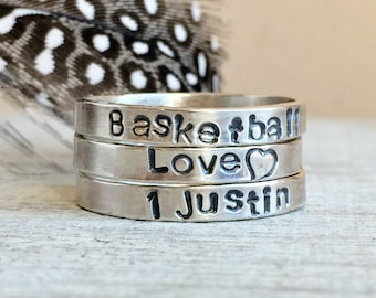 3mm Name Ring - Sterling Silver Stackable Name Rings - Ring Gift Set - Personalized Rings