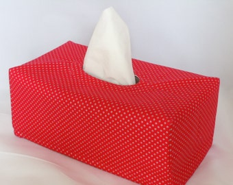 Ready To Ship -  Red with Silver Dots  - Fabric Tissue Box Cover for Kleenex Ultra Long Box
