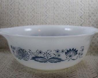 Vintage White Mixing Bowl, Blue and White Mixing Bowl, Cinderella Mixing Bowl, Large Milk Glass Mixing Bowl