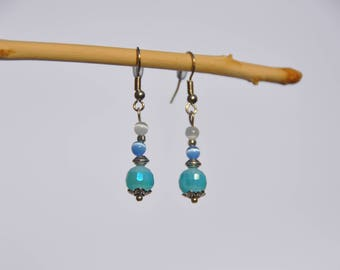 Earrings with pretty blue and white beads